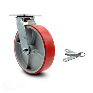 8 Red Poly On Cast Iron Caster Swivel W bolt On Swivel Lock Scc