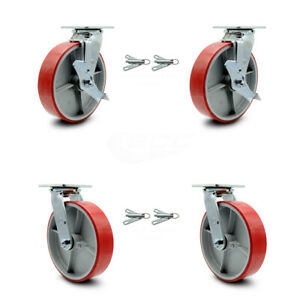8 Red Poly On Cast Iron Caster 2 Swvl W top Brk Bsl And 2 Swvl W bsl Scc