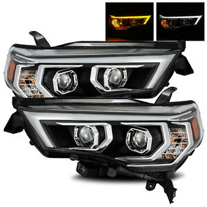 For 2014 2020 Toyota 4runner Led Tube Black Projector Headlights Lamps Lh Rh Set