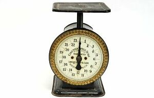 Antique Columbia Family Scale Landers Frary Clark Black W Gold Early 1900