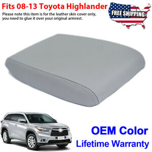 Fits 2008 2013 Toyota Highlander Leather Center Console Lid Armrest Cover Gray