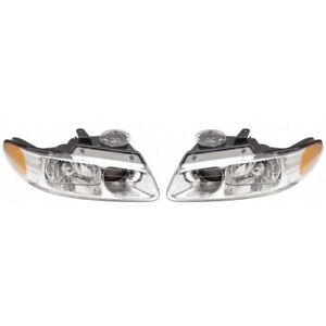 Fits 2000 Chrysler Town Country Pair Head Light Lf And Rh Side W quad Headlamp