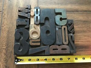 Letterpress Print Type Wood Letters And Numbers 15 Pieces Lot Of 15