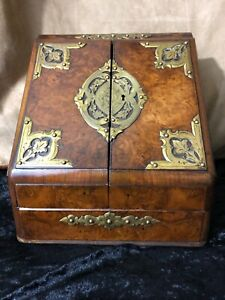 English Victorian Burl Elm Brass Mounted Traveling Writing Box 19th Century
