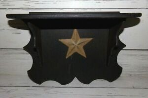 Primitive Country Farmhouse Rustic Star Wood Wooden Shelf