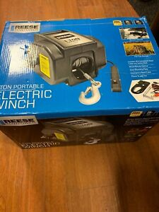 Reese 70336 1 Ton Electric Portable Winch 2000 Lb Pull Capacity