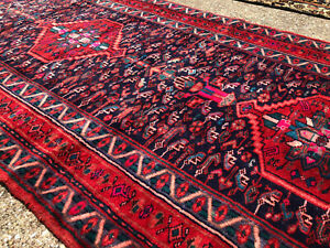 3x8 Blue Vintage Runner Rug Wool Hand Knotted Antique Red Handmade 3x9 4x8 4x9