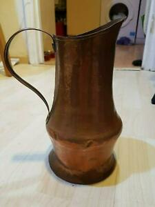 Vintage Antique Copper 10 5 Jug Coffee Pot Pitcher Ewer Flower Vase Trench Art