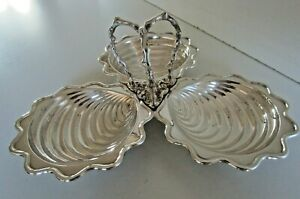 Victorian Silver Plated 3 Sectioned Shell Sea Food Serving Dish
