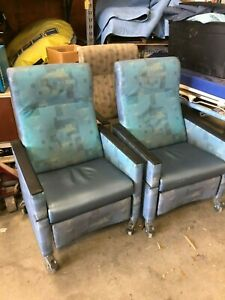 Lot Of 3 Clinical Care Patient Recliner Medical Chair Folding Side