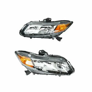 Fit 2012 15 Honda Civic Led Projector Headlights Headlamps Assembly Left right