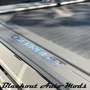 Chrome Tone Bed Rail Letter Inserts 2014 2018 Chevy Silverado Truck Bed Letters