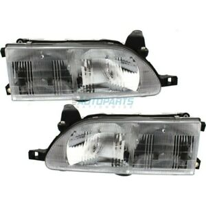 New Set Of 2 Head Light Assembly Fits 1993 97 Toyota Corolla To2502107 To2503107
