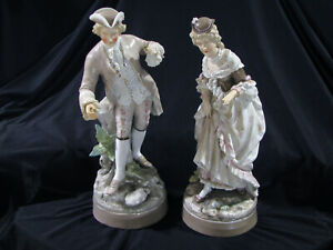 Large Pair Of Antique German Or French Porcelain Figures Man Lady 16 Tall
