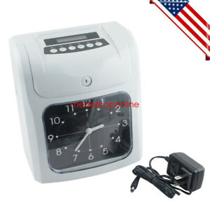 Us Electronic Employee Attendance Punch Time Clock Payroll Recorder Lcd Ups Fast