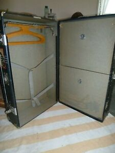 Vintage Steamer Trunk Travel Wardrobe Two Drawers Key Included