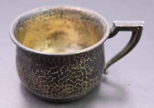 Antique Saart Bros Hand Hammered Engraved Sterling Silver Baby Cup