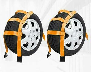 2 Pack Tow Dolly Car Basket Straps With Flat Hooks Car Wheel Strap Tie Down