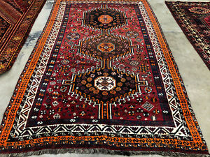 5x8 Antique Rug Hand Knotted Wool Handmade Red Oriental Fine Vintage Red 5x7 4x8