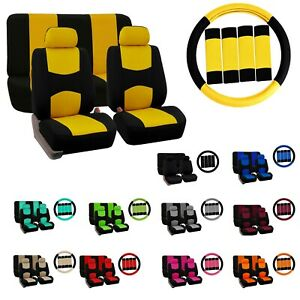 Car Seat Covers Flat Cloth Full Set Universal Fit W Steering Wheel Cover Combo