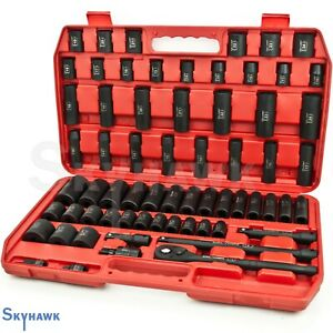 65 Pc 1 2 Dr Sae Metric Deep Shallow Impact Socket Adaptor Reducer Set