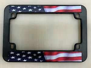 Usa American Flag Motorcycle Bike Plastic Abs Black Plastic License Plate Frame