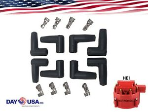 Hei 90 Degree Style Distributor Boot Terminal Spark Plug Wire Kit Of 8