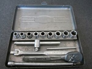 1950 s Craftsman 1 4 Drive 6pt Sae Socket Set Case Made In Usa