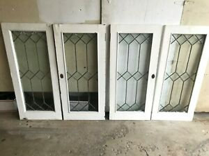 4 Antique Leaded Glass 16 X 36 Shabby Paint Wood Cupboard Cabinet Pantry Doors