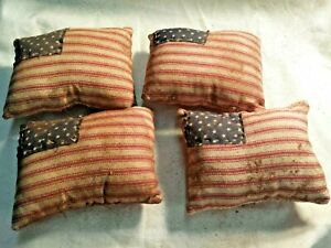 Primitive Patriotic Farmhouse Flags Red White Blue Bowl Fillers Grunged Set Of 4