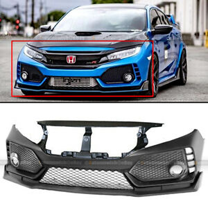 For 16 19 Honda Civic 10th Type R Style Unpainted Front Bumper Cover Fascia Trim