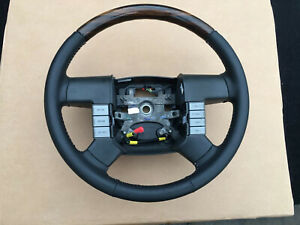 2004 2008 Ford F 150 Lincoln 6 Steering Wheel Black Leather And Wood Oem