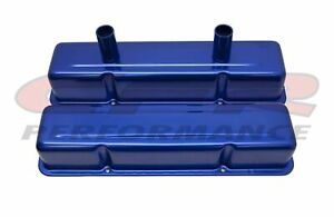Aluminum Stamped Tall Valve Covers Chevy Sb Circle Track 283 400 Blue