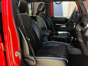 2013 2018 Jeep Wrangler Jk 4dr Whithe Diamond Syn Leather Custom Seat Cover