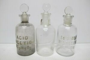 Set Of 3 Antique Apothecary Glass Bottles Pharmacy Medicine Sodium Hydroxide