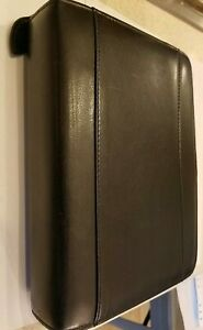 Franklin Quest Covey Black Top grain Leather Classic Planner 6 Ring Zip Binder