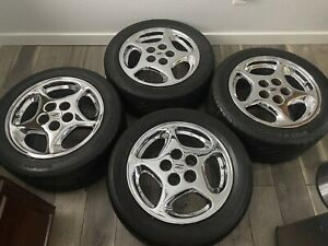 4 Nissan 300zx Twin Turbo Tt 16 Oem Chrome Wheels Tires Rims Staggered