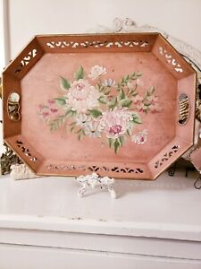 Omg Shabby Best Vintage Pink Floral Hand Painted Toleware Metal Serving Tray
