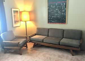 Mid Century Modern Vintage Couch And Chair Set Grey Upholstery Daybed 50 S Mcm
