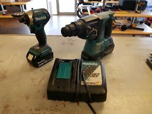Makita Xrh01 Rotary Hammer Drill Xdt14 Impact 2 Batteries And Charger