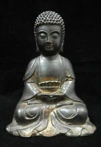 Ancient Large Heavy Old Chinese Bronze Shakyamuni Buddha Seated Statue Sculpture