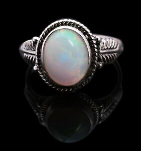 Calibrated Opal Cabochon Vintage Silver Ring Exclusively Rare Royal #411.!hdi7yp