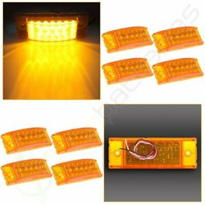 8 6 Amber Side Marker Clearance Light Rectangle For Truck Trailer 20 Diodes