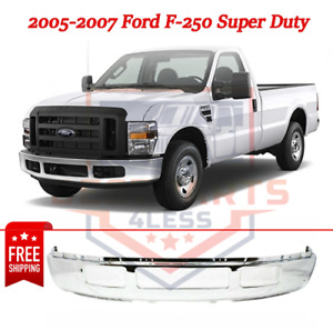 New Front Bumper Steel Chrome For 2005 2007 Ford F 250 Super Duty
