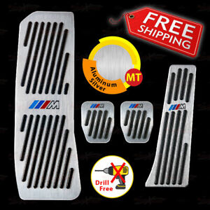 Non drill Manual Gas Brake Footrest Pedal Pad Covers For G30 G31 5 Series Silver