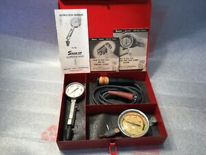 Vintage Snap On Tools Tune Up Set Timing Light Compression Vacuum Fuel Pressure