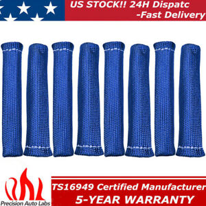 2500 Blue Spark Plug Wire Boots Protector Sleeve Heat Shield Cover For Ls1 Ls2