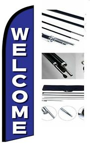 Welcome Feather Windless Business Flag Pole Stake Kit Advertising Free Shipping