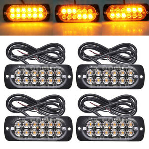 4x Amber Led Tow Truck Grill Emergency Strobe Lights Bar Caution Flash Warning