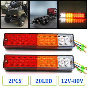 2x 20led Waterproof Tail Lights Kit Rv Camper Trailer Rear Turn Signal 12v 24v